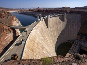 (Rick Egan | The Salt Lake Tribune) The Glen Canyon Dam, on the Colorado River in northern Arizona, on Tuesday, Aug. 3, 2021.