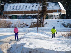 (Francisco Kjolseth  | The Salt Lake Tribune) Skiers make their way back to their cars after hitting the slopes at Brighton Resort on Tuesday, Jan. 6, 2020.