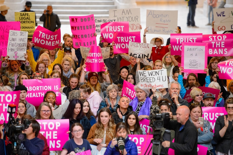 (Trent Nelson | The Salt Lake Tribune) A rally in the Capitol Rotunda in Salt Lake City on Tuesday May 21, 2019 was part of a nationwide series of protests to bring attention as a number of conservative states pass laws aimed at getting abortion before the U.S. Supreme Court.
