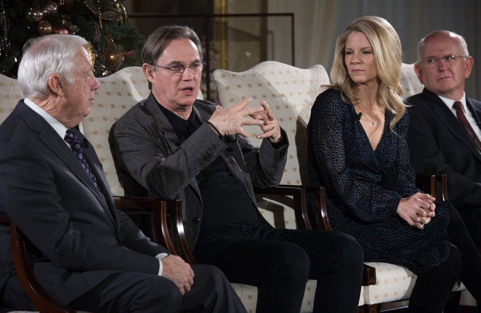 (Rick Egan | The Salt Lake Tribune) Tabernacle Choir President Ron Jarrett, left, actor Richard Thomas, singer and actress Kelli O'Hara and Choir Music Director Mack Wilberg talk about the 2019 Tabernacle Choir Christmas Concert at Temple Square during a news conference, Thursday, Dec. 12, 2019.