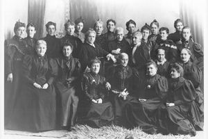 Tribune file photoSusan B. Anthony and the Rev. Anna Howard Shaw, national suffrage leaders, met with Utah suffrage leaders in 1895. Anthony is seated third from the right; and Shaw has her hand on Anthony's chair; next to her is Sarah Granger Kimball, then Emmeline B. Wells and Zina Diantha Young (seated), who was general president of the Relief Society when this photo was taken.