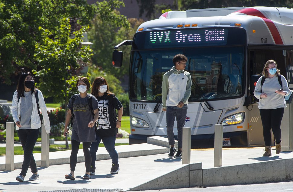 (Rick Egan | The Salt Lake Tribune) Pedestrians exit the bus in downtown Provo on Friday, Sept. 11, 2020.