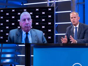(Francisco Kjolseth | The Salt Lake Tribune) Brigham Young University athletic director Tom Holmoe, right, is joined remotely by Big 12 commissioner Bob Bowlsby, right for the announcement of BYU's acceptance into the Big 12 conference at a press conference in Provo, Friday, Sept. 10, 2021.