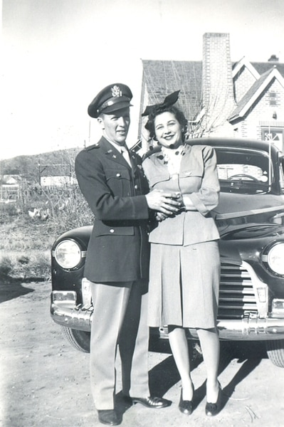 (Courtesy of the Imperial War Museum and the Lonnie Moseley family) Lonnie Moseley poses with Carol Moseley in an undated photograph.