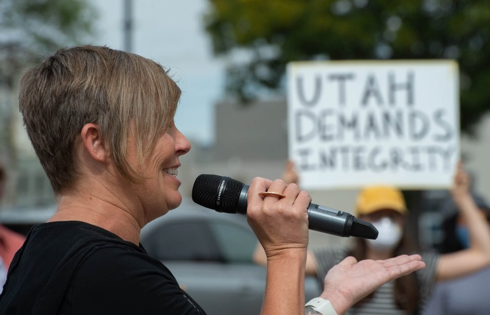 (Francisco Kjolseth | The Salt Lake Tribune) Salt Lake City Councilwoman Amy Fowler joins the list of speakers gathered outside the federal courthouse on Saturday, Sept. 26, 2020 in Salt Lake City in opposition to filling the Supreme Court vacancy after the death of Ruth Bader Ginsburg.