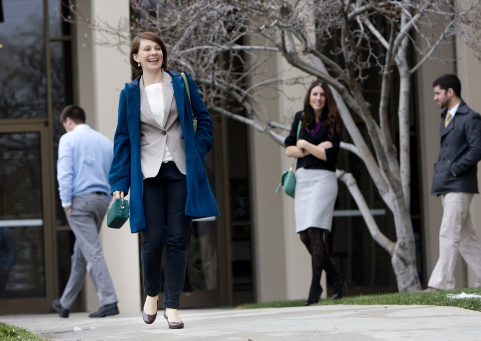 (Kim Raff | Tribune file photo) Julia Shumway walks out of her Latter-day Saint ward wearing pants in Salt Lake City on Dec. 16, 2012.