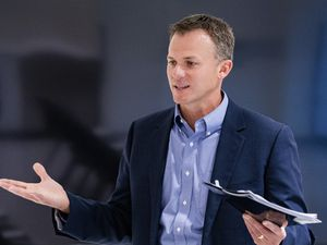 (Rick Egan | The Salt Lake Tribune)  Rep. Blake Moore, appearing at town hall in June 2021, paid a fine recently for failing to disclose stock trades.