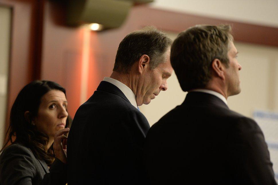 Francisco Kjolseth   The Salt Lake Tribune Former Utah Attorney General John Swallow listens, alongside his defense team, as the verdict is read during his public-corruption trial in Salt Lake City, Thursday March 2, 2017. Swallow was dismissed of all charges.