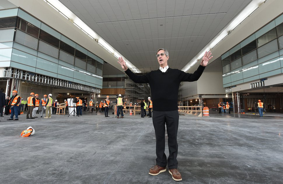 (Francisco Kjolseth | Tribune file photo) Bill Wyatt, Executive Director of Salt Lake City International Airport, talks about the recently announces food concessionaires for the first phase of the new expanded airport during a tour on Wed. Feb. 20, 2019.
