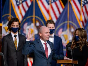 (Trent Nelson  |  The Salt Lake Tribune) Spencer Cox is sworn in as Utah's 18th Governor at Tuacahn Center for the Arts in Ivins on Monday, Jan. 4, 2021.