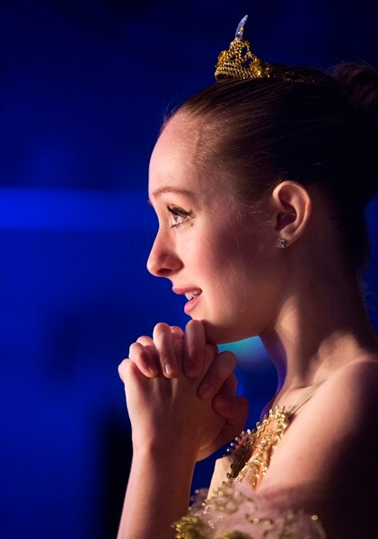 (Rick Egan | The Salt Lake Tribune) Sophie Aste watches Hanna Hardy dance, back stage, as she waits for her to turn to perform, at the 2018 Youth America Grand Prix Regional Semi-Finals at the University of Utah Marriott Center for Dance, Saturday, Feb. 17, 2018.