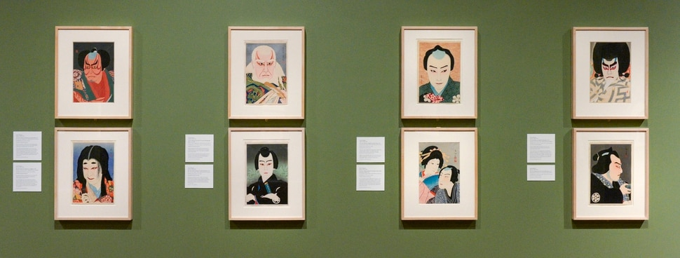 (Leah Hogsten | The Salt Lake Tribune) A wall of woodblock printed Kabuki actors by various artists. The Utah Museum of Fine Arts exhibit Seven Masters: 20th-Century Japanese Woodblock Prints, from the Minneapolis Institute of Art features the work of seven woodblock print artists who created a new art form, shin hanga.