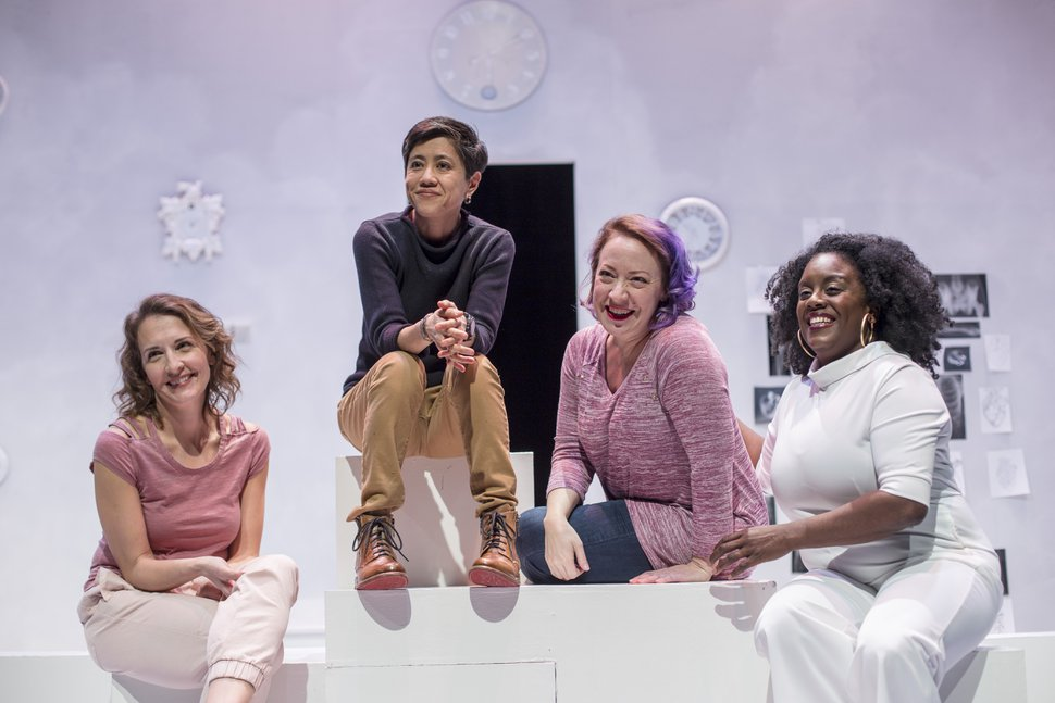(Courtesy photograph by Rick Pollock for Plan-B Theatre Company) | Playwright Jenifer Nii, with actors Susanna Florence, April Florence and Dee-Dee Darby-Duffin in