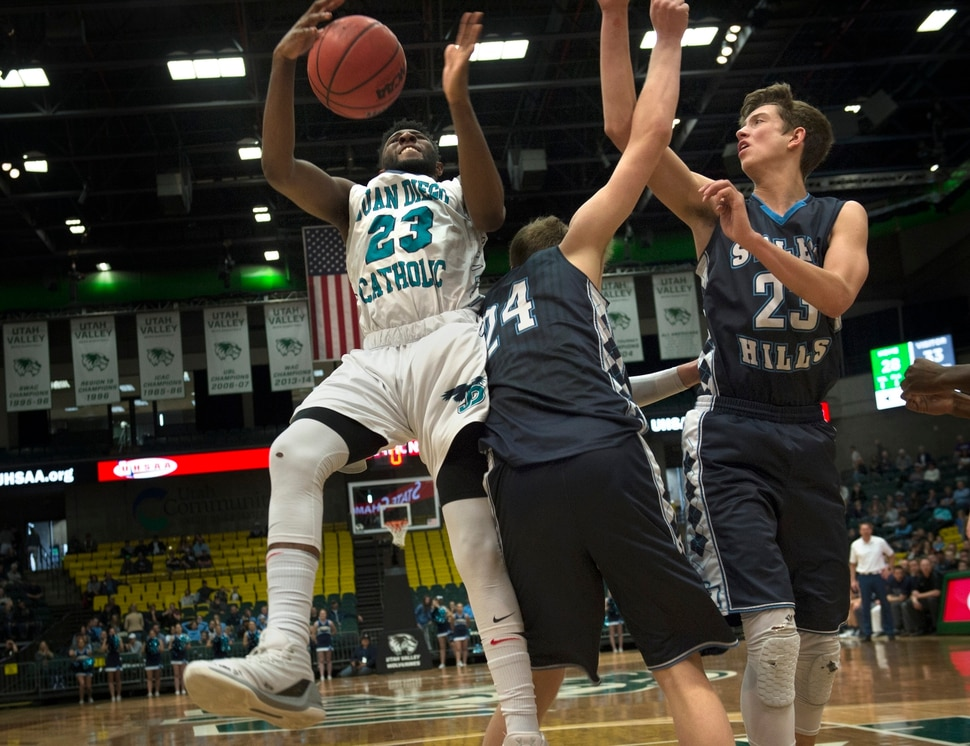 Scott Sommerdorf | The Salt Lake Tribune Juan Diego's Jason Ricketts battles for control of a rebound during second half play. Salem Hills beat Juan Diego 64-55 for the 4A boy's title, Saturday, March 3, 2018.
