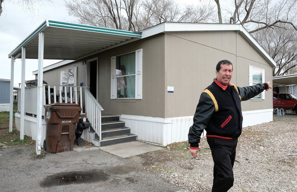 (Francisco Kjolseth | The Salt Lake Tribune) Roberto Duran talks about damage to his mobile home park in Magna, Utah, after many were knocked off their foundations during a magnitude 5.7 earthquake that hit the area on Wednesday, March 18, 2020.