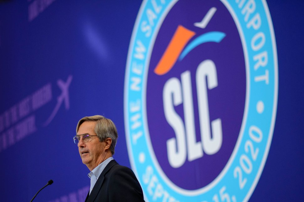 (Trent Nelson | The Salt Lake Tribune) Airport director Bill Wyatt at The New SLC Unveil Ceremony, where the new Salt Lake City International Airport was shown off on Thursday, Aug. 27, 2020.
