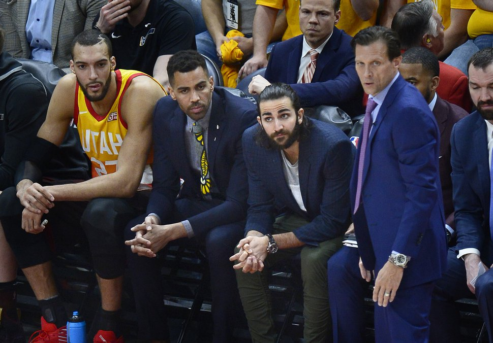 (Scott Sommerdorf | The Salt Lake Tribune) Utah Jazz guard Ricky Rubio (3) loos on from the bench during a disastrous first half. The Houston Rockets led the Utah Jazz 70-40 at the half of game 3, Friday, May 4, 2018.