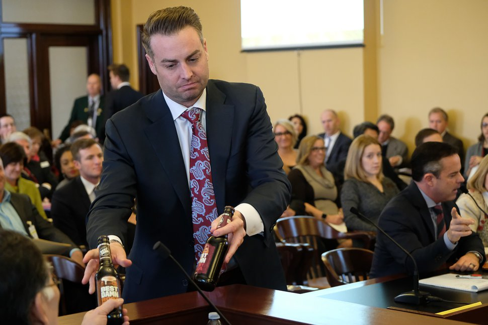 (Francisco Kjolseth | Tribune file photo) In this January 2017 file photo, Lincoln Shurtz with the Utah Association of Counties testifies before a legislative committee about 'alcopop' at the state Capitol in Salt Lake City in January 2017.