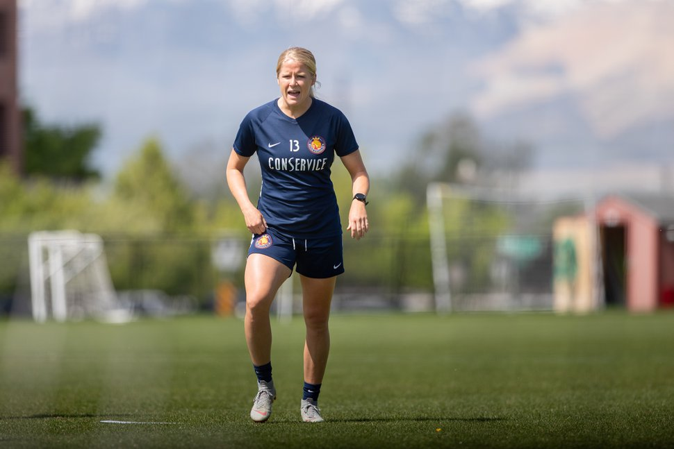 (Photo courtesy of Utah Royals FC) Makenzy Doniak trains at American First Field on May 13 in Sandy, Utah. Doniak recently returned to action after recovering from an ACL tear.
