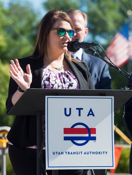 (Rick Egan | The Salt Lake Tribune) South Salt Lake Mayor Cherie Wood says a few words as South Salt Lake and other dignitaries met together to break ground on construction of UTA's S-Line double track project, on 300 East and 2233 South, Monday, June 11, 2018.
