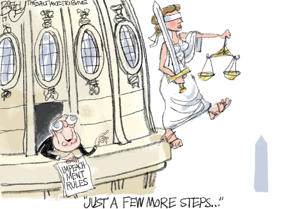 (Pat Bagley | The Salt Lake Tribune) This cartoon, titled Republican Rules of Impeachment, appears in The Salt Lake Tribune on Tuesday, Dec. 17, 2019.