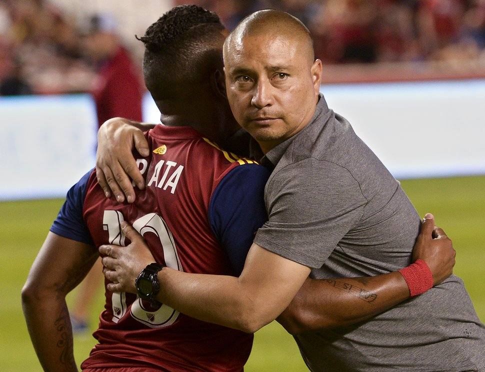 (Leah Hogsten | The Salt Lake Tribune) Real Salt Lake interium coach Freddy Juarez hugs Real Salt Lake forward Joao Plata (10) after getting his first win against the Seattle Sounders, Aug. 14, 2019 at Rio Tinto Stadium in Sandy. RSL defeated the Sounders 3-0.