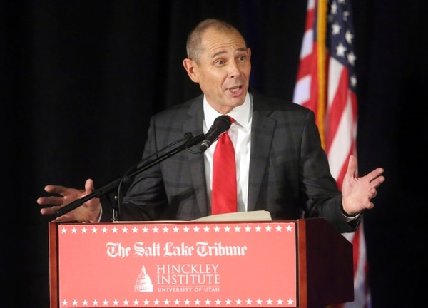 Republican candidate John Curtis speaks during a debate at the Utah Valley Convention Center Friday, July 28, 2017, in Provo, Utah. Republican candidates Chris Herrod, Tanner Ainge and Curtis, vying for the seat vacated by U.S. Rep. Jason Chaffetz, debated on topics ranging from healthcare to religious freedom. (AP Photo/Rick Bowmer)