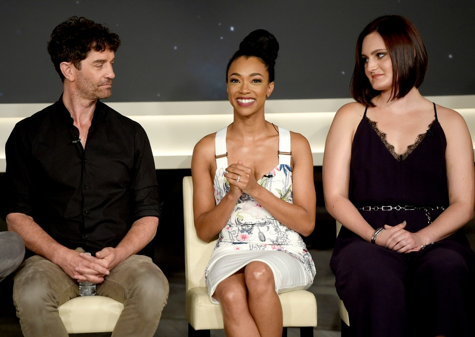 James Frain, from left, Sonequa Martin-Green and Mary Chieffo participate in the Star: Trek Discovery panel during the CBS Television Critics Association Summer Press Tour at CBS Studio Center on Tuesday, Aug. 1, 2017, in Beverly Hills, Calif. (Photo by Chris Pizzello/Invision/AP)
