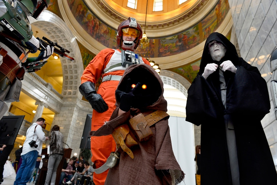(Scott Sommerdorf | The Salt Lake Tribune) Cosplayers pose for a photo in the Utah Capitol Rotunda on Wednesday after attending an event where FanX Salt Lake Comic Convention announced more celebrities and new programs for the Sept. 6-8 event.