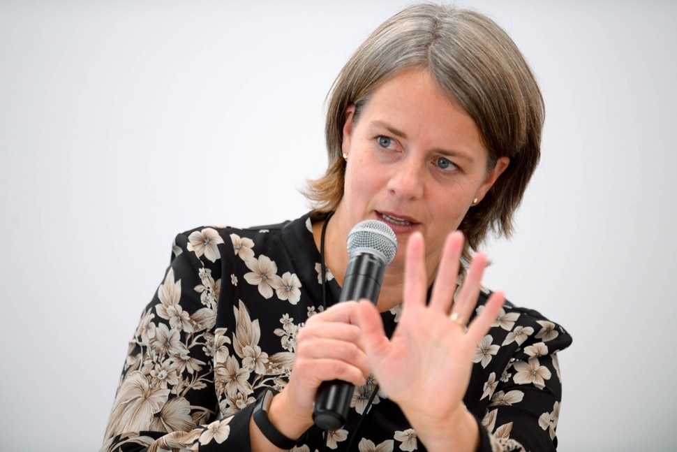 (Trent Nelson | The Salt Lake Tribune) Astrid Dalehaug Norheim discusses The geopolitics of religion: why some religious conflicts get more international attention than others at the International Association of Religion Journalists conference in Salt Lake City on Thursday Oct. 10, 2019.