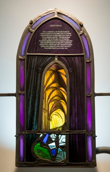 (Rick Egan | The Salt Lake Tribune) Coutances, France, Cathedral de Notre Dame, is part of the the McDonald Windows, stained glass exhibit, Remembered Light, which features fragments from World War II windows. The exhibit brought to Utah by the Salt Lake Interfaith Roundtable & the Peace Committee of the Utah District of Rotary International. The exhibit runs through Nov 17, at 175 South Main, in Salt Lake City. Monday, Oct. 29, 2018.