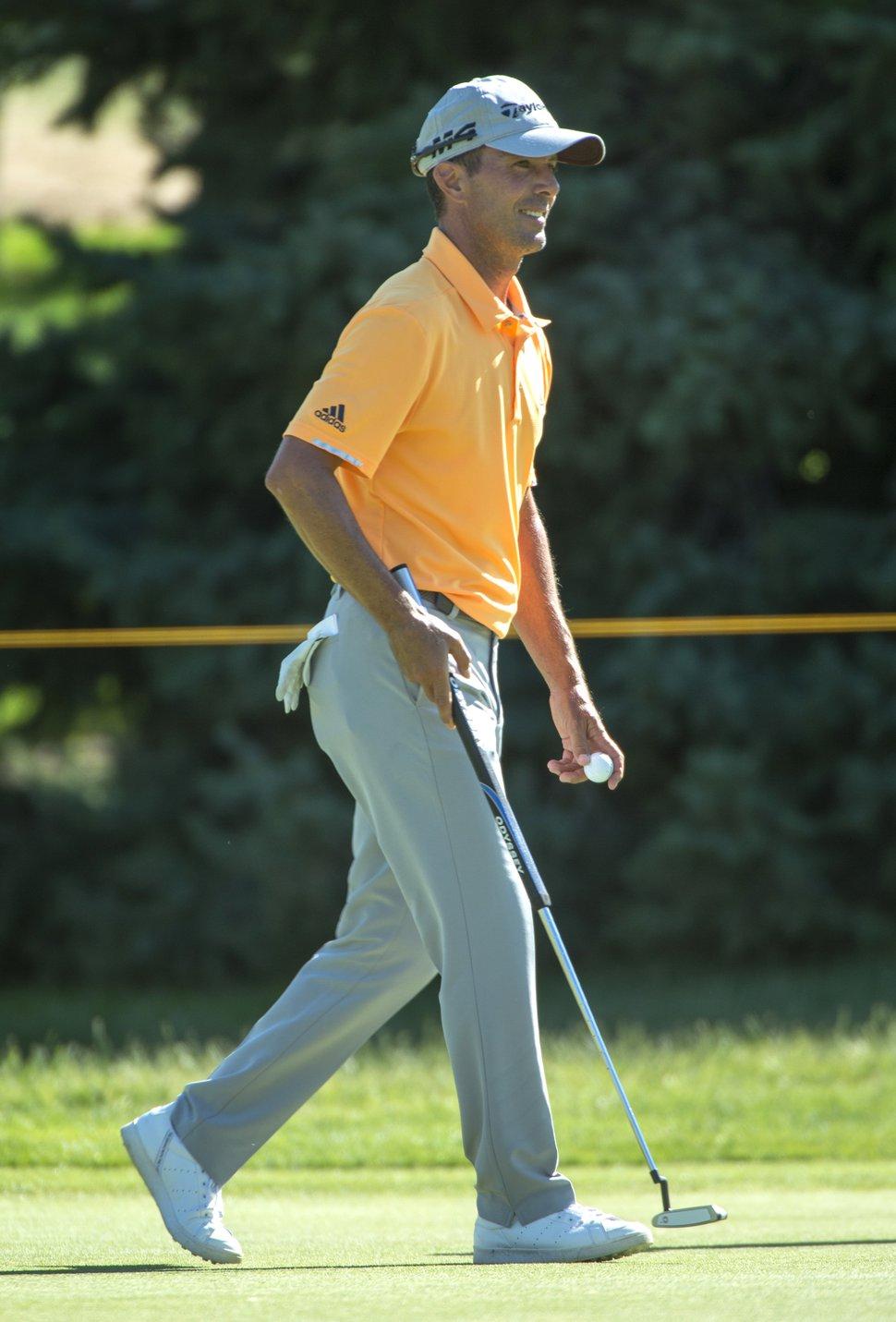 (Rick Egan | The Salt Lake Tribune) Mike Weir plays in the Utah Championship golf event on the Web.com Tour at Oakridge Country Club in Farmington, Thursday, July 12, 2018.