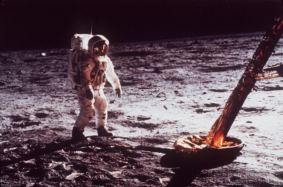 (AP Photo/NASA) Astronaut Edwin Buzz Aldrin walks by the footpad of the Apollo 11 Lunar Module, July 1969.