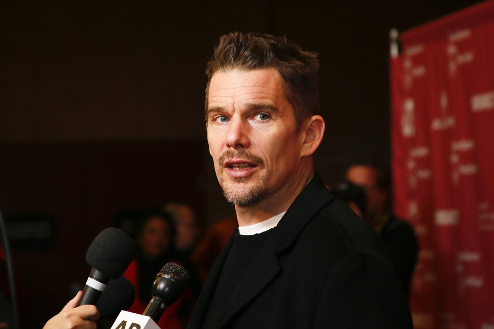 Actor Ethan Hawke is interviewed at the premiere of