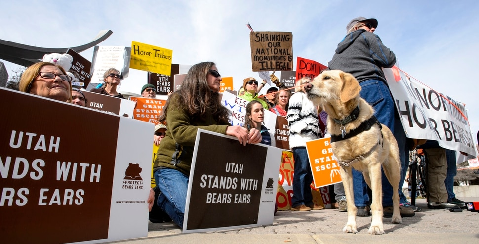 (Steve Griffin | The Salt Lake Tribune) Proponents of the Bears Ears and Grand Staircase-Escalante national monuments rally outside the Salt Palace Convention Center in Salt Lake City on Friday, Feb. 9, 2018. SUWA organized the rally where U.S. Secretary of the Interior Ryan Zinke was scheduled to speak during the Western Hunting and Conservation Expo.