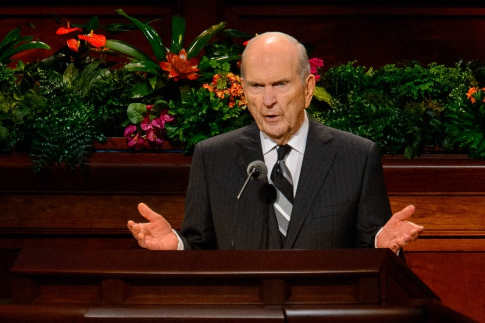 (Trent Nelson | The Salt Lake Tribune) President Russell M. Nelson speaks at the General Conference of The Church of Jesus Christ of Latter-day Saints in Salt Lake City, Saturday Oct. 6, 2018.