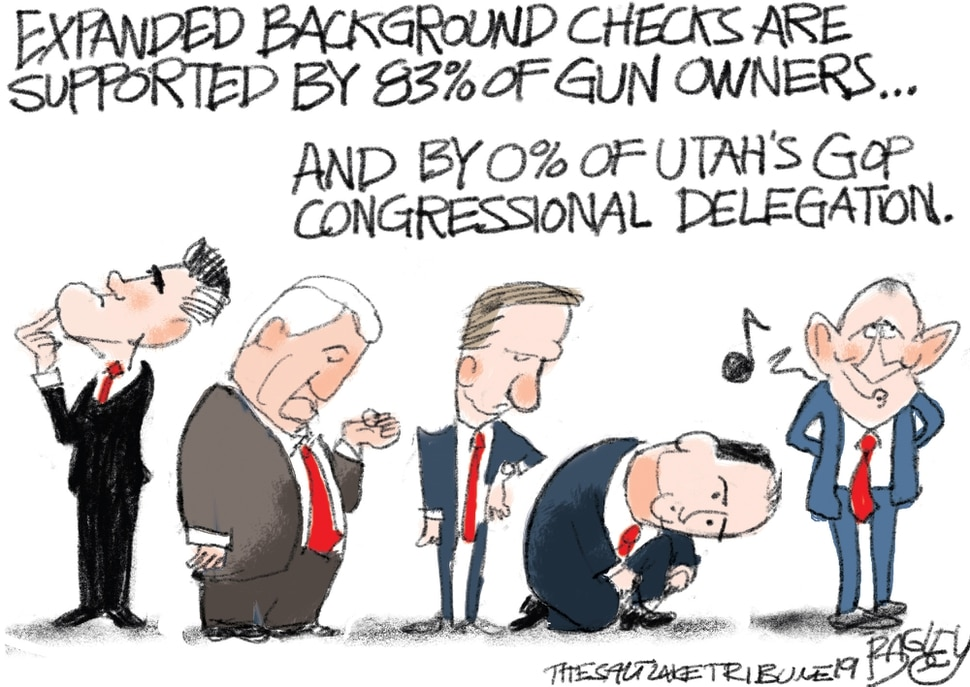 "(Pat Bagley | The Salt Lake Tribune) This cartoon, titled ""Universal Background Check,"" appears in The Salt Lake Tribune on Wednesday, Aug. 7, 2019."