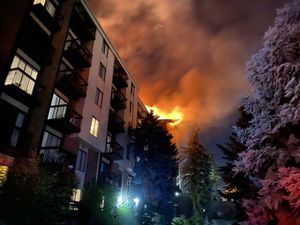 (Photo courtesy of the Salt Lake City Fire Department) A five-alarm fire broke out at the Incline Terrace apartments early Monday morning.