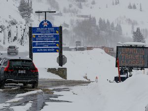 (Francisco Kjolseth  |  Tribune file photo)  Alta Ski Area closed uphill traffic for avalanche control on March 25 but kept the Summer Road and Grizzly Gulch open to backcountry skiers.