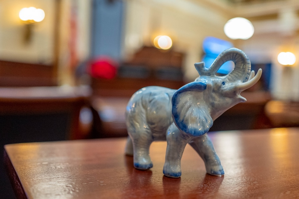 (Trent Nelson | The Salt Lake Tribune) An elephant on the desk of Sen. Todd Weiler, R-Woods Cross, in the Senate Chamber in Salt Lake City on Thursday Dec. 12, 2019 as lawmakers hold a special session focusing on tax reform.