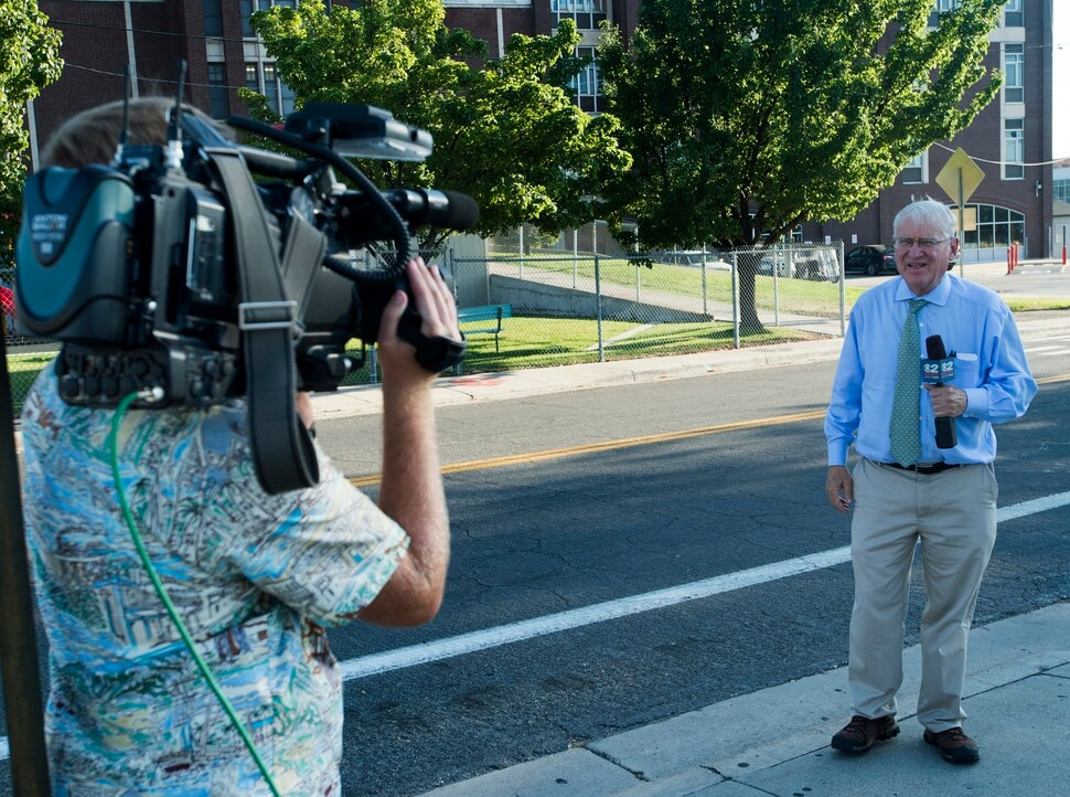 (Rick Egan | The Salt Lake Tribune) Rod Decker reports live from West High School, for KUTV news, Monday, September 11, 2017.