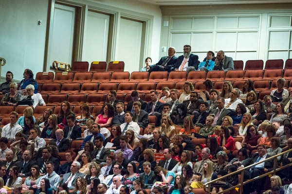 Chris Detrick | The Salt Lake Tribune Members of the congregation listen during the morning session of the 186th LDS General Conference at the Conference Center in Salt Lake City Saturday April 2, 2016.