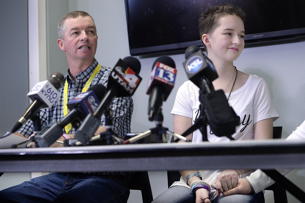 Scott Sommerdorf | The Salt Lake Tribune Deserae Turner looks toward her mother as her father speaks at a press conference at Primary ChildrenÕs Hospital, Thursday, April 20, 2017.