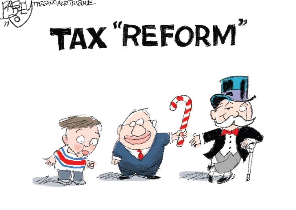 (Pat Bagley | The Salt Lake Tribune) This cartoon, titled Tax Reform, appears in The Salt Lake Tribune on Wednesday, Dec. 11, 2019.