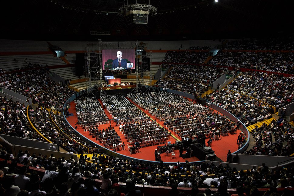 (Photo courtesy of The Church of Jesus Christ of Latter-day Saints) President Russell M. Nelson speaks to Latter-day Saints at the General Rumiñahui Coliseum in Quito, Ecuador, on Aug. 26, 2019.