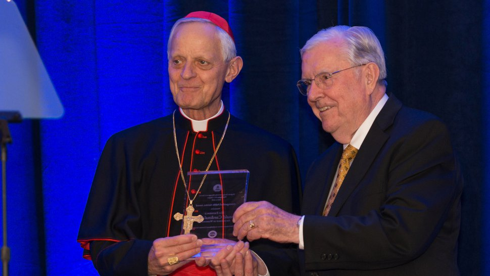 (Courtesy of the LDS Church) President M. Russell Ballard honored His Eminence Cardinal Donald Wuerl, Archbishop of Washington, Saturday night, June 2, 2018, for his commitment to religious liberty.
