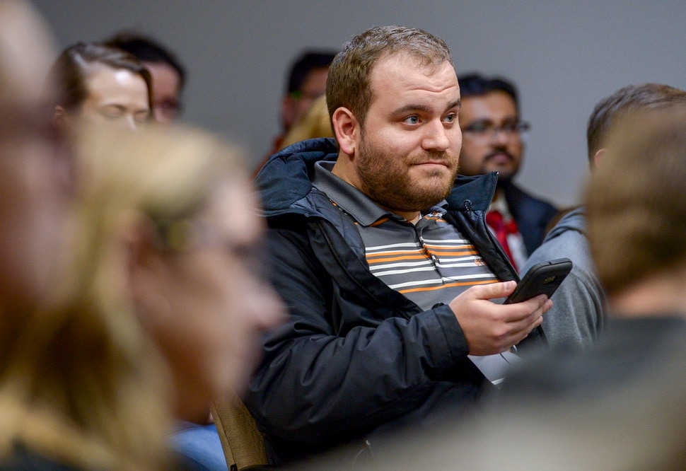Leah Hogsten | The Salt Lake Tribune Aaron Bullen of Lehi reacts to Congressman Ben McAdams' answers regarding abortion. McAdams met with constituents in the Lehi City Council chambers Tuesday evening during his second town hall in Utah County, Feb. 19, 2019.