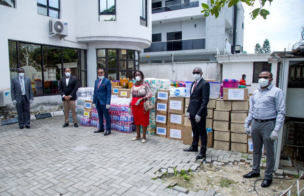 (Photo courtesy of The Church of Jesus Christ of Latter-day Saints) Representatives of The Church of Jesus Christ of Latter-day Saints at the donation of COVID-19 medical supplies to the Lagos state government