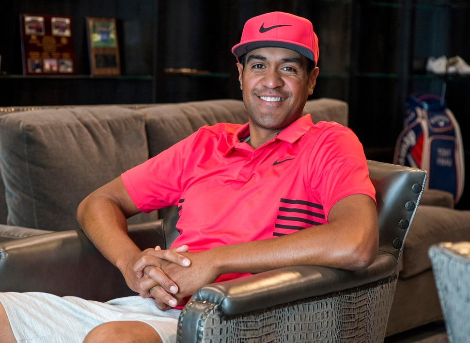 (Rick Egan | The Salt Lake Tribune) Tony Finau at his home in Lehi. Finau is making his debut in the Masters golf tournament next month. Friday, March 16, 2018.