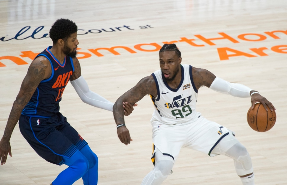 (Rick Egan | The Salt Lake Tribune) Utah Jazz forward Jae Crowder (99) works the ball, as Oklahoma City Thunder forward Paul George (13) defends,, in game 4, NBA playoff action between Utah Jazz and Oklahoma City Thunder, in Salt Lake City, Monday April 23, 2018.